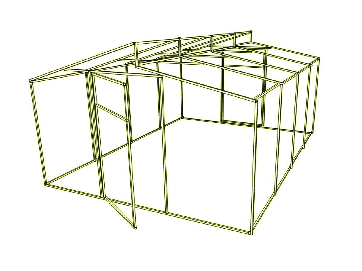 Дод. секція на каркас теплиці Мітлайдера (без полікарбонату) 300x200x235см